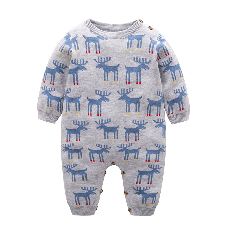 Automne bébé vêtements hiver Long pull Gary Elk motif coton nouveau-né bébé Onesies vêtements intérieur bambin barboteuse idée de noël