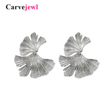 Carvejewl stud earring ginkgo leaf earrings for women jewelry girl gift earing 2019 spring style simple personality hot