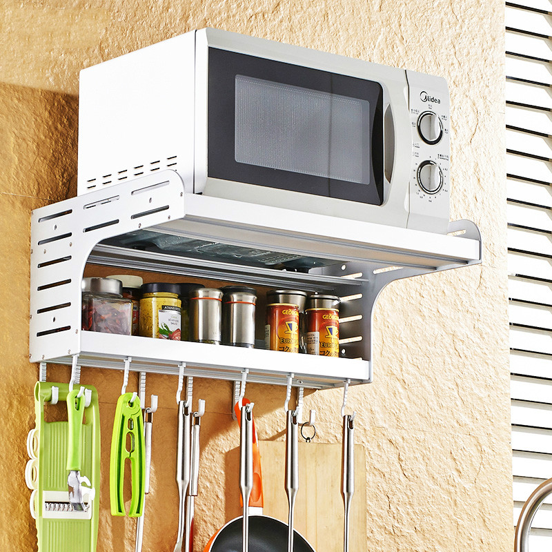Punch-free Space Aluminum Oven Rack 2 Layer Oven Bracket Kitchen Storage Rack Microwave Wall Mount Lu 50318