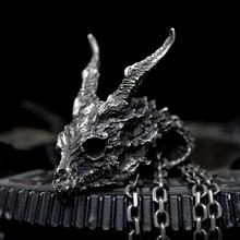 Gothic Mens Detail Evil Dragon Skull Pendant 316L Stainless Steel Pendant Necklace Punk Biker Fashion Jewelry 925 sterling silver skull mens biker rocker punk pendant 9r009