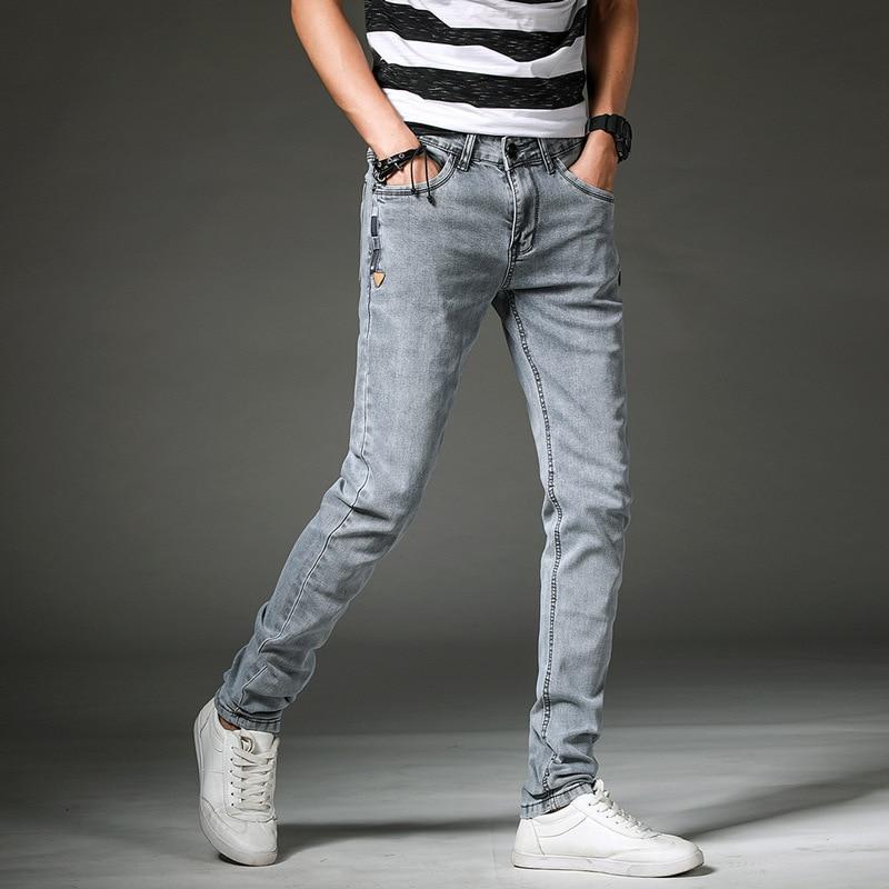 Blue Jeans Men's Autumn Men Casual Slim Women's Small Feet Long Pants BOY'S Teenager Students Paragraph