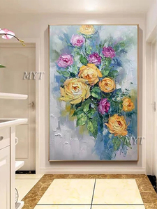Image 5 - Texture Thick Vase Flower Handmade Oil Painting Canvas Wall Art Oil Paintings Canvas Knife Art Home Decoration Wall Pictures