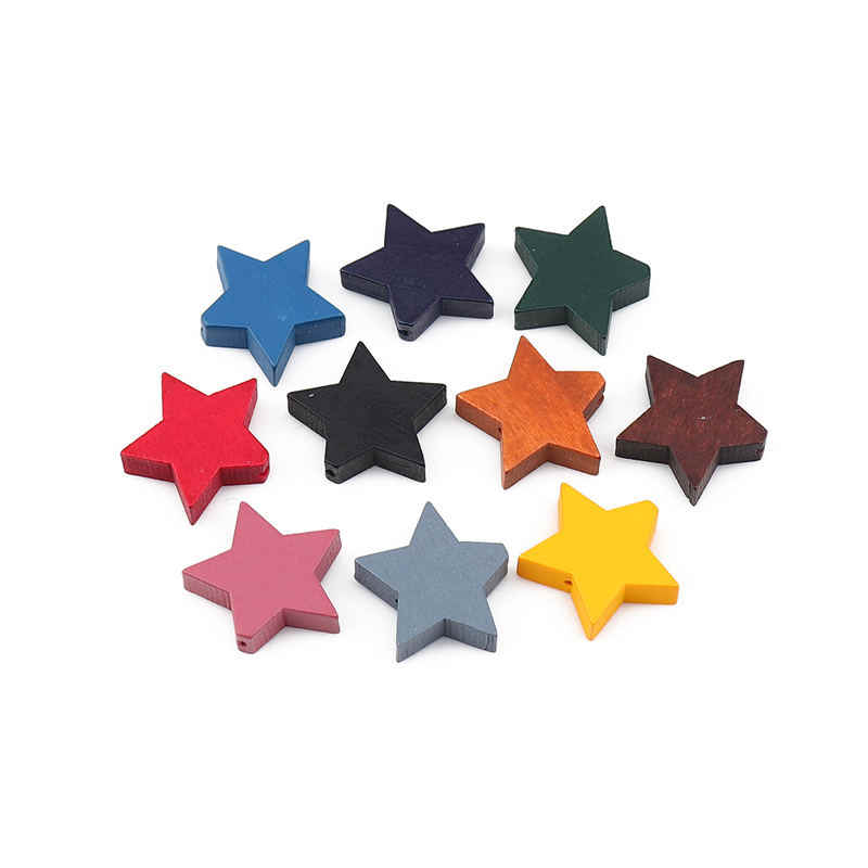 30 Pcs Fashion Kayu Pengatur Jarak Manik-manik Pentagram Bintang Hitam Manik Kayu Membuat Gelang untuk Perhiasan Kalung Aksesoris 20X17 MM