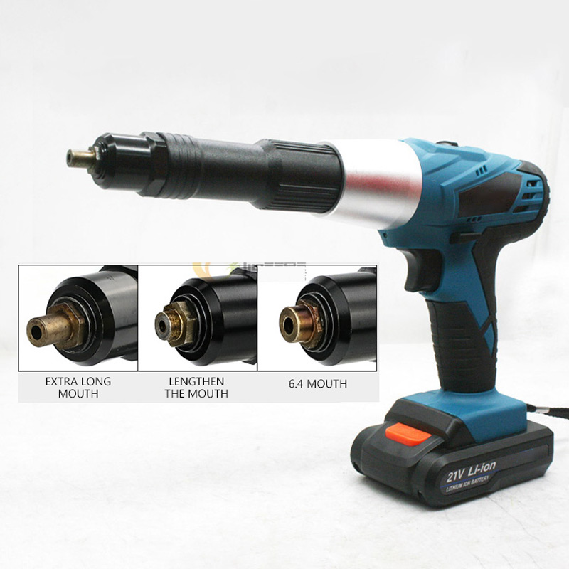 21V Electric Rivet Gun  Portable Cordless Rechargeable Electric Blind Riveter Gun Support 2.4-4.8mm Rivet