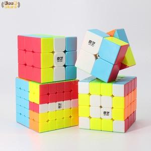 Image 3 - Qiyi Cube magique 2x2 3x3 4x4 5x5 QiyuanS QizhengS, Puzzle de vitesse, Puzzle guerrier Qidi, jouet éducatif, sans autocollants 3 pièces, 4 pièces/ensemble
