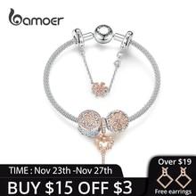 Bamoer bijoux Original couleur or Rose Bracelets pour femme, marguerite, clef damour, pendentif breloques, argent solide 925, SCB824