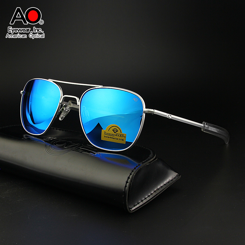 American Optical AO Sunglasses Men Air Force Pilot Aviation Sunglasses Colored Tempered Glass Sun Glasses Boutique Brand AO55-57 image