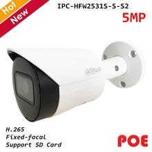 Dahua-caméra IP Poe 5 mp Lite IR | Réseau de puces à focale fixe, caméra IP H.265, prise en charge de la carte SD, nouveau
