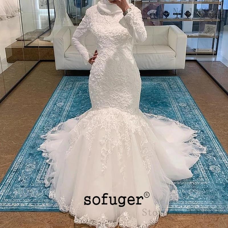 Robe De mariée sirène en dentelle musulmane col rond manches longues Robe De mariée Invisible dubaï arabe Abiti Da Sposa