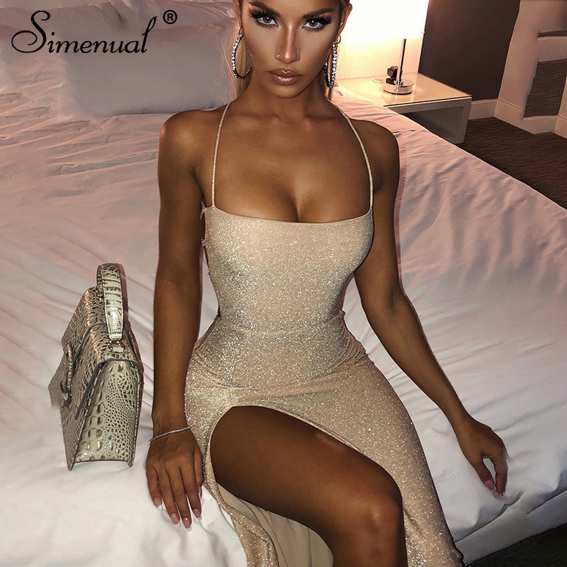 Simenual Glitter Backless Bandage Women Maxi Dress Sleeveless Party Summer Clubwear Sexy Hot Side Slit Skinny Bodycon Dresses