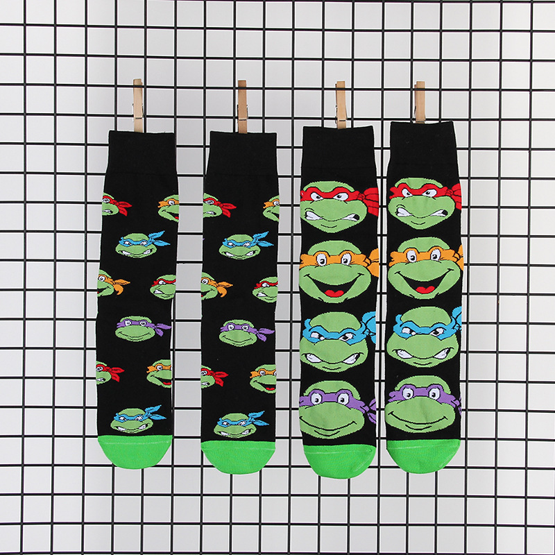 Funny Cartoon Anime Print  Socks Creative Fashion Personalized Novelty Men Women Comfort Breathable Balck Green Cotton Sock