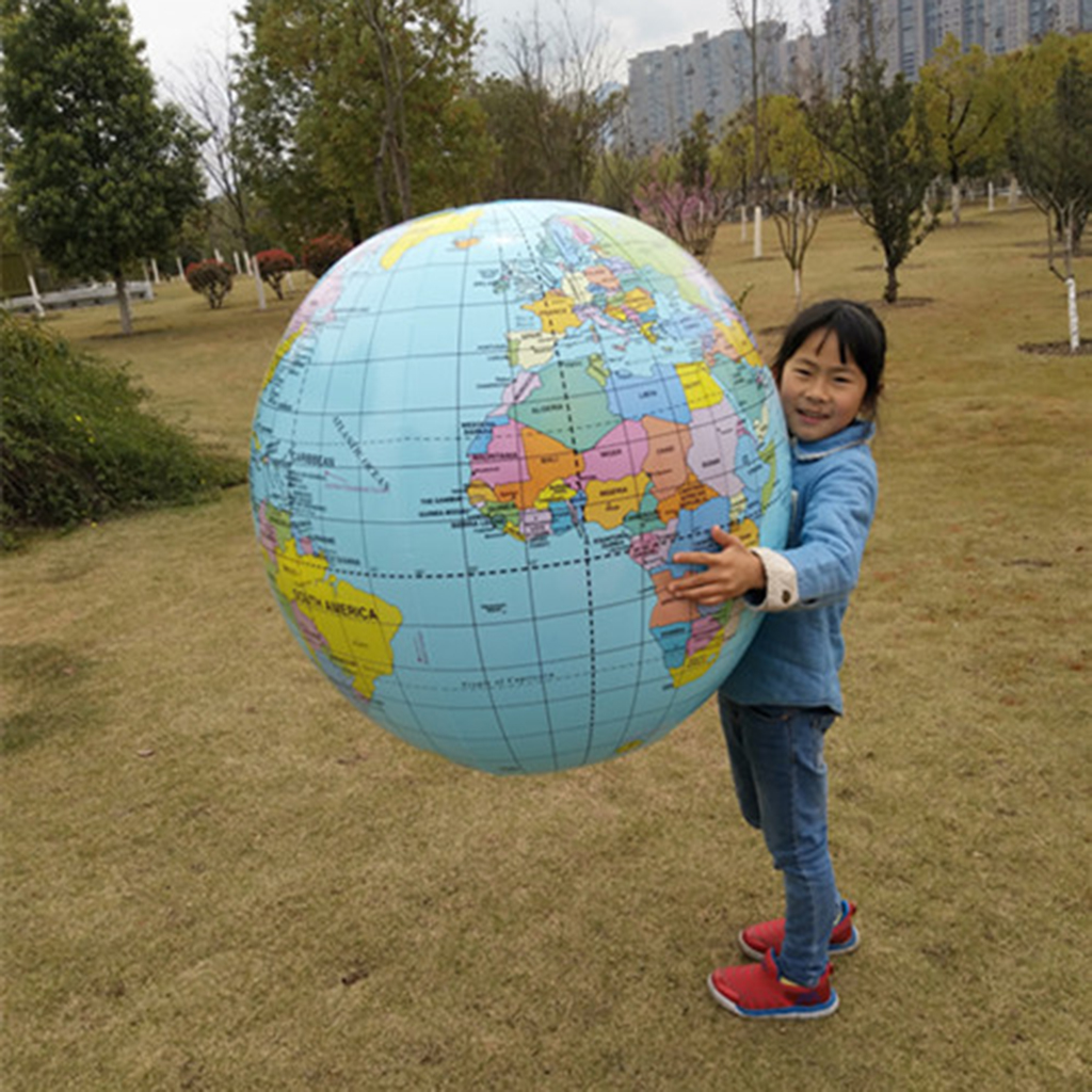 35 Inches Inflatable Globe Blowing Up World Globe Beach Ball Globe For Party Bags, Summer Outdoor Toy