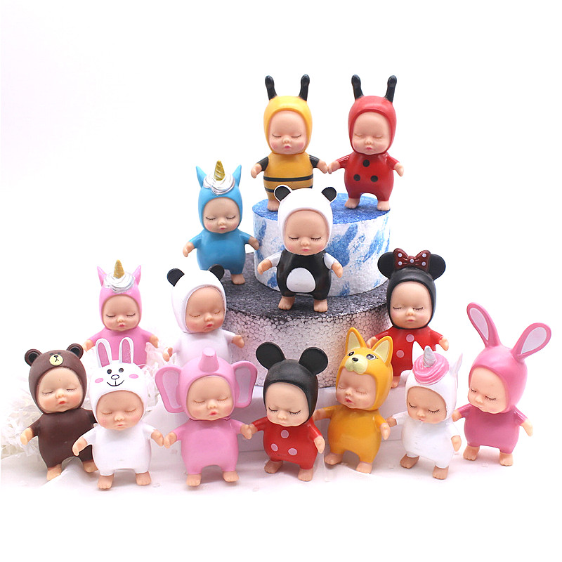 New Sleeping Baby Minnie Brown Bear Figurines Adorn Sleeping Dolls For Kids Children Toys Baby Doll Toys