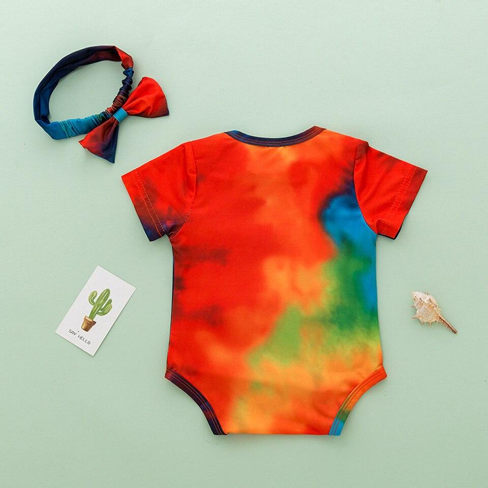 Headbands Newborn Infant Baby Girls Boys Tie-dyed Rainbow Romper Bodysuit