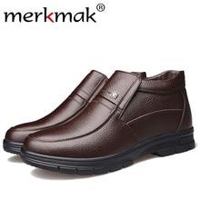 Купить с кэшбэком Merkmak Luxury Brand Men Winter Boots Warm Thicken Fur Men's Ankle Boots Fashion Male Business Office Formal Leather Shoes