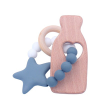 Newest Infant Silicone Star Chew Nursing Bracelet for Baby Wooden Teet