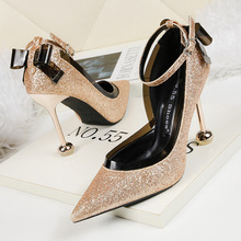 Liren 2019 Summer Fashion Sexy Lady Buckle Sandals Pointed Wrapped Toe Bling  High Thin Heels Size 34-40