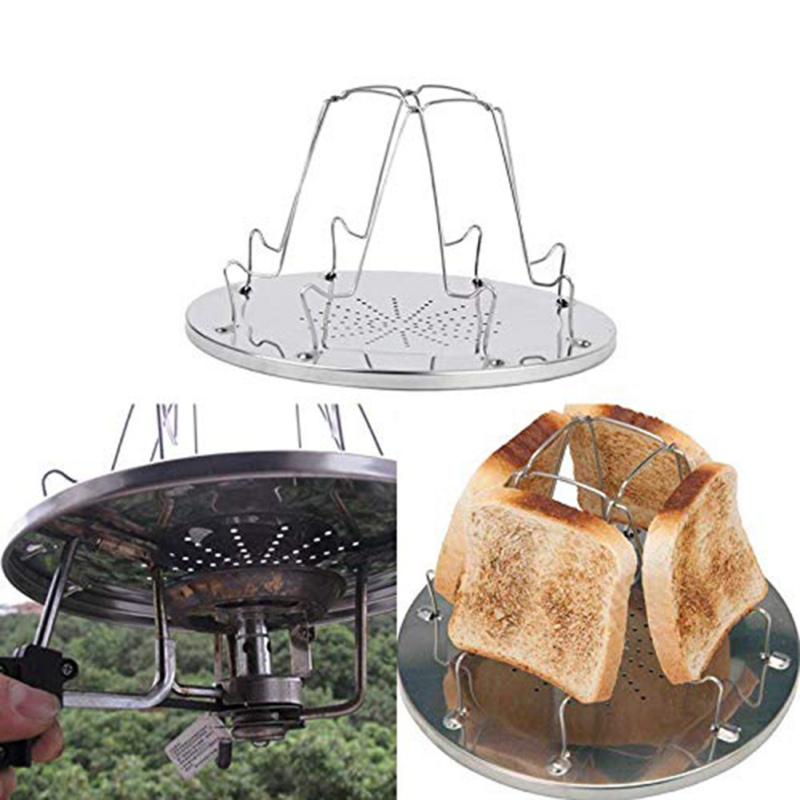 New 4 Slice Folding Camping Toaster For Gas Hob Cooker