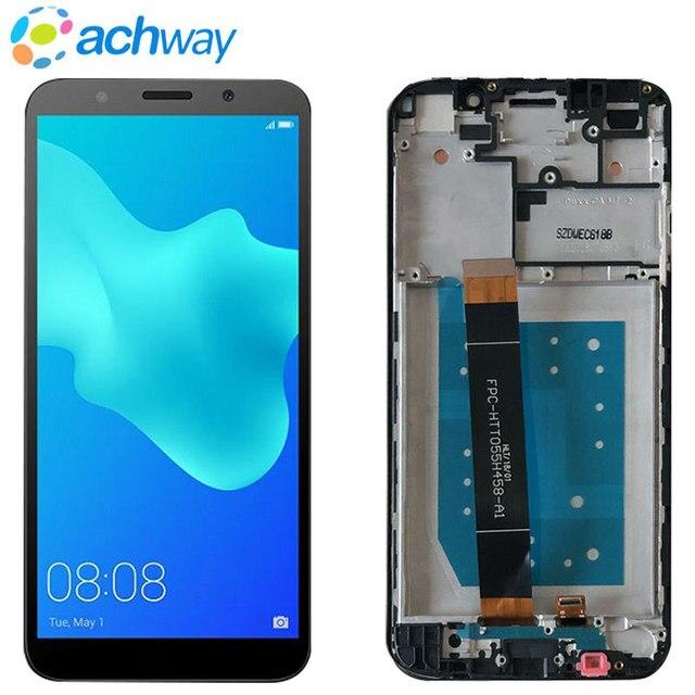 """5.45 """"pełna pokrywa dla Huawei Y5 Prime 2018 LCD DRA-LX2 wyświetlacz czujnik ekranu dotykowego szklana rama dla Y5 2018 DRA-L21 DRA-L01 ekran LCD"""