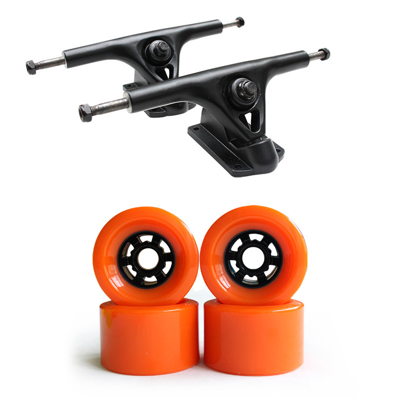 Skateboard Longboard 7 Inch Trucks 83*52mm Wheels Set Holders Brackets Kit Magnesium Alloy 2*Trucks + 4*Wheels