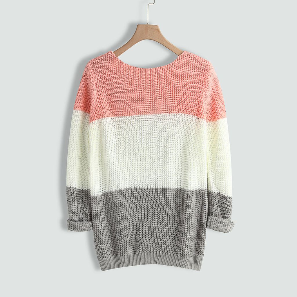 2020 Womens Sweater O-neck Sweater Casual Knitted Loose Long Sleeve Tops Slim Fit Pullover Sueter Mujer Invierno winter clothes