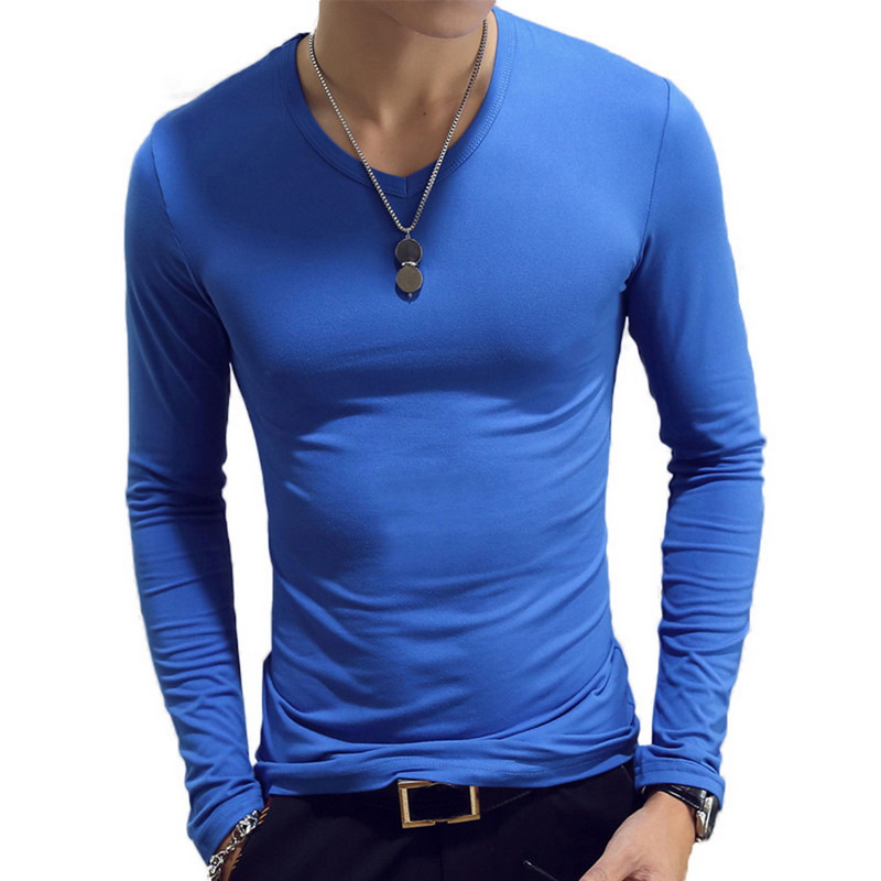 DIHOPE 2020 Autumn Men T-Shirts Long Sleeve O-Neck Casual Fitness Jogging Solid Fashion Tee Basic Running Homme Top Clothing