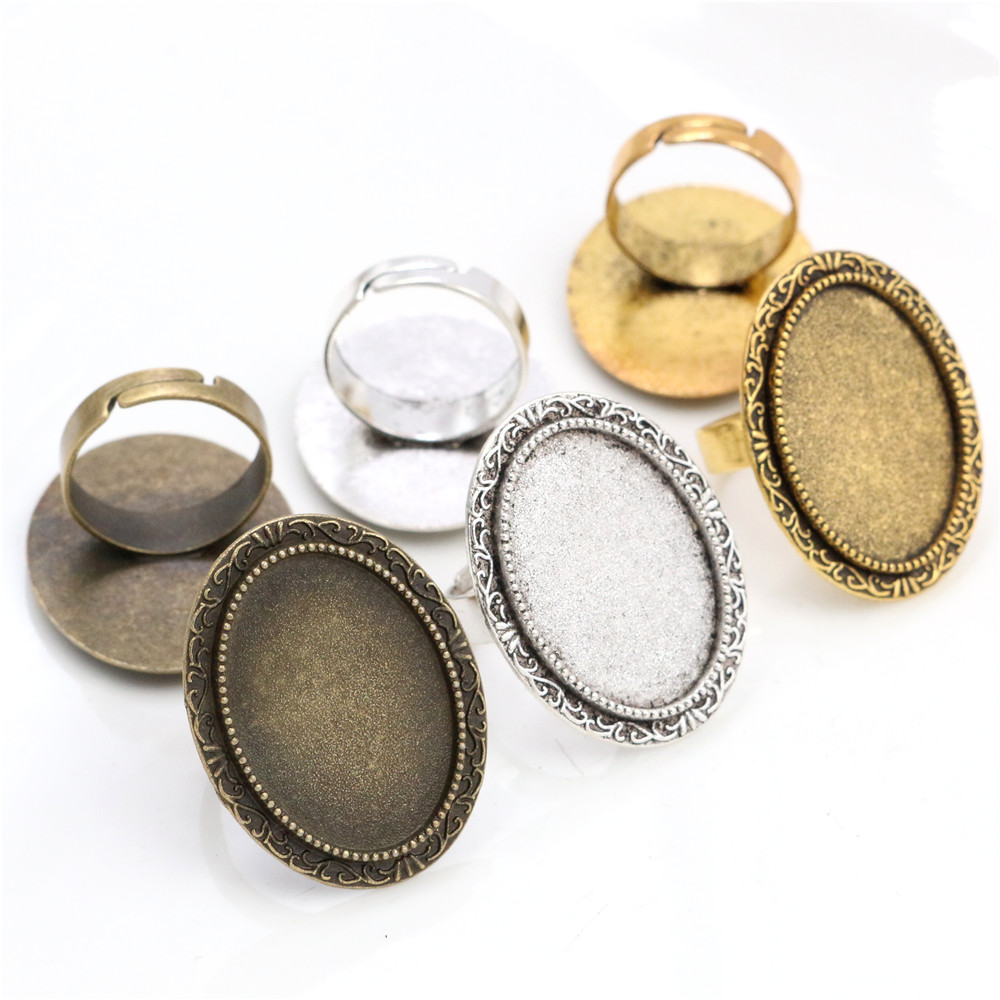 18x25mm 5pcs Antique Silver Colour Gold Color Bronze Oval Adjustable Ring Settings Blank/Base,Fit 18x25mm Glass Cabochons