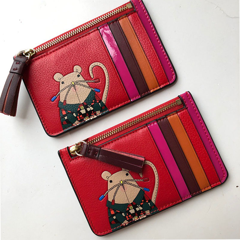 Length Wallet Women Fashion Card Pack Cartoon Red Rat Pattern Simple Coin Purse Genuine Leather Material