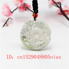 Natural White Chinese Jade Carp Bat Pendant Necklace Charm Jewelry Double-sided Carved Amulet Fashion Accessories Gifts(China)
