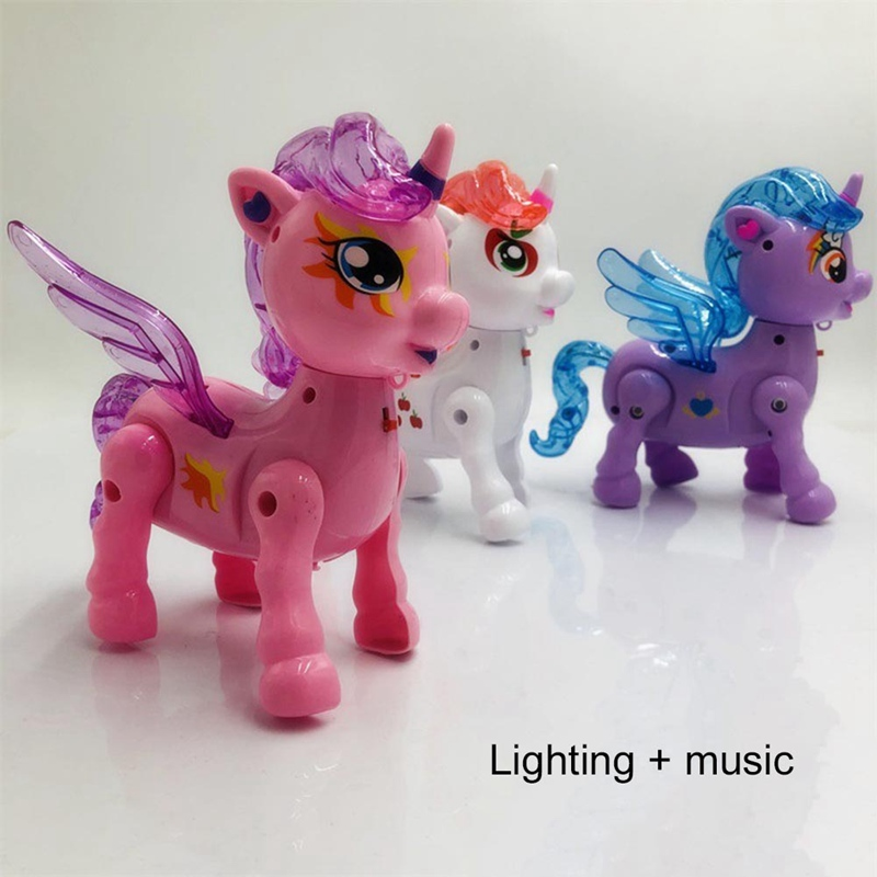 Walk Doll Fly Horse Children Toy Gift Unicorn Luminous Band Cartoon Electric Leash Music Leash Animal Color Random