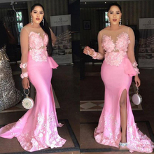 Sheer Neck Pink Mermaid Prom Dresses 2019 Floral Appliques Evening Party Gown Side Split Long Sleeve Formal Dress robe de soiree buttoned split back sheer floral lace dress