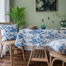 Mantel de algodón de lino azul Vintage lavable café cena azul y blanco porcelana mantel para Banquete de boda de Navidad