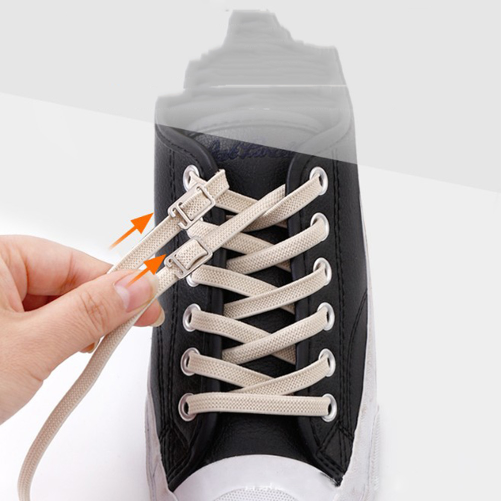 Flat No Tie Shoelaces Elastic Sneakers Shoelace Solid Stretching Shoe Lace Lazy Metal Lock Bootlace Shoestring Shoe Accessories