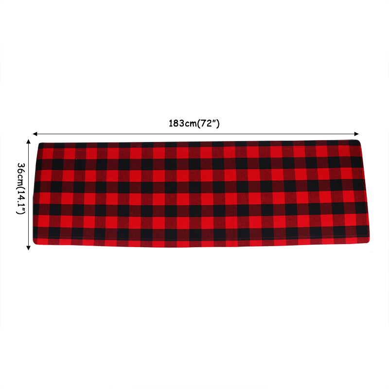 1Pc classic 36x183cm Christmas table flag Red black Plaid tablecloth Cotton Linen Christmas decoration for home Retro New Year in Party DIY Decorations from Home Garden