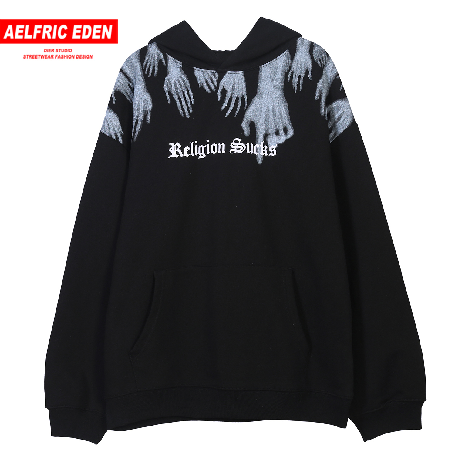 Aelfric Eden Ghost Finger Printed Fleece Mens Hooded Sweatshirts 2019 Harajuku Casual Cotton Pullover Fashion Streetwear Hoodies