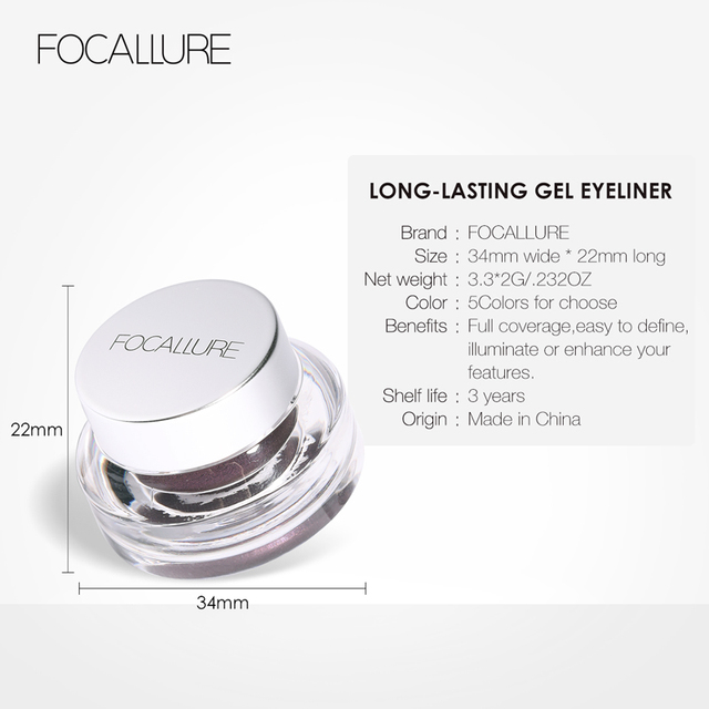 FOCALLURE 2pcs/set  Black Eyeliner Gel Cream waterproof long lasting eyeliner professional eyebrow gel with brushes 5