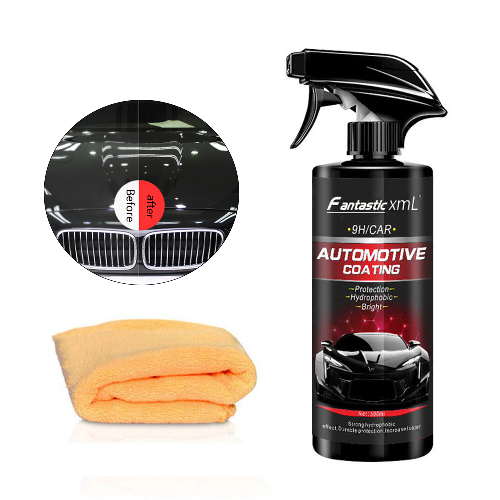 500ML Ceramic Spray Coating Car Polish Spray Sealant Top Coat Quick Nano-Coating Spray Wax Car Cleaning Paint Care With Towel
