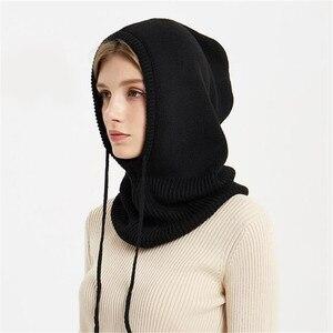 Chapeau en laine pour femmes   Écharpe Baggy, bonnet de Ski en tricot, bonnet de Ski, casquettes, chapeau chaud Crochet, accessoires d'hiver czapka i szalik sea4