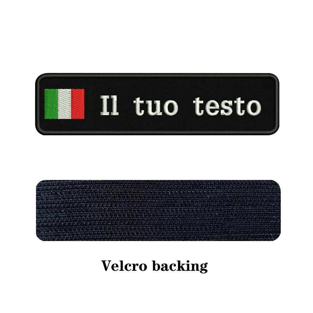 Ricamo Personalizzato Italia Bandiera Nome O di Testo Patch di 10cm * 2.5 centimetri badge Iron On O Velcro di Supporto Per vestiti Pantaloni Cappello Zaino