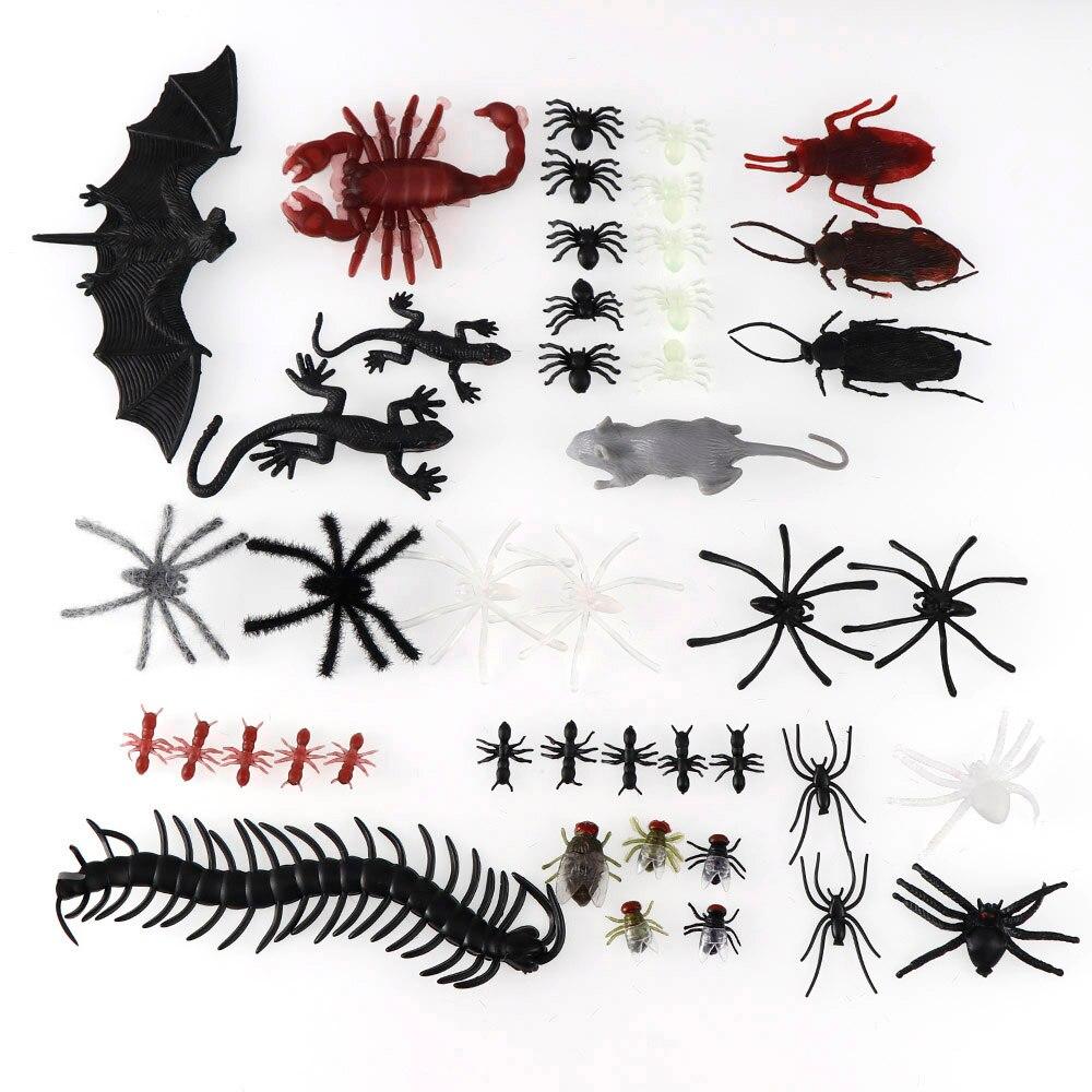 Chinches de murciélago de plástico de simulación, arañas falsas, escorpión, Halloween, accesorios creativos de terror para fiesta, decoración Diy, 44 Uds.