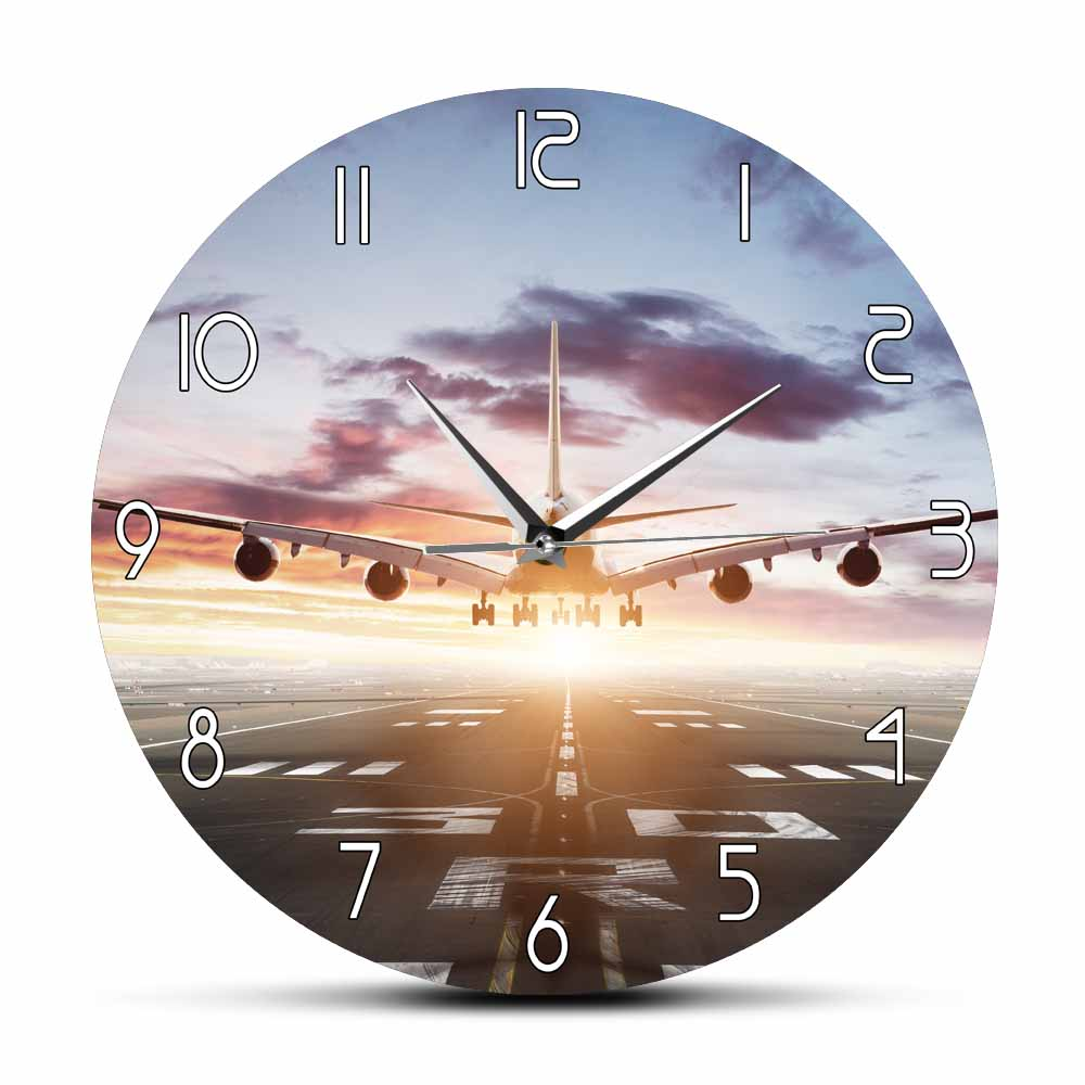 Plane Take Off Morden Design Wall Clock Airplane Aeroplane Flying Over Runway Watch Clock Silent Timepiece Aircraft Gift image
