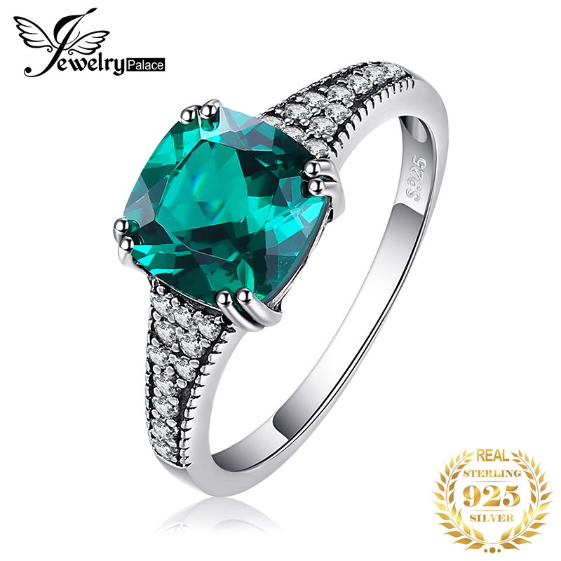 JewelryPalace Cushion Created Nano Emerald Ring 925 Sterling Silver Rings For Women Engagement Ring Silver 925 Gemstones Jewelry