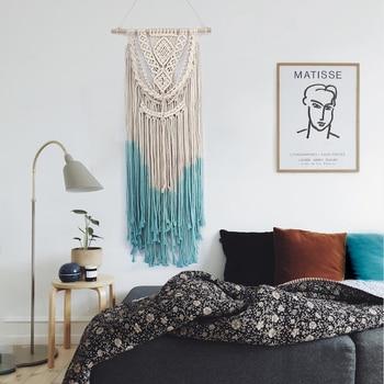 Tapiz nórdico de algodón con borlas para sala de estar, tapiz bohemio...