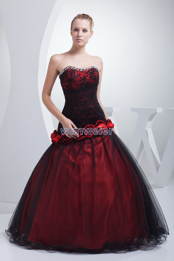 Free Shipping Really Pictures Red And Black Sweetheart Lace Up Handmade Flowers Beading 2018 Prom Mother Of The Bride Dresses