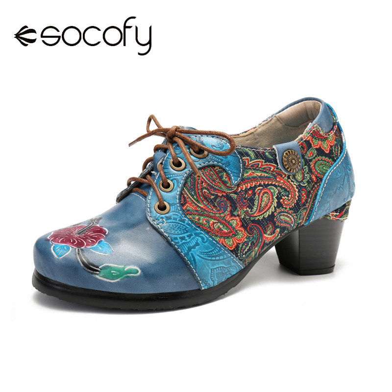 SOCOFY Retro Embossed Flower Folkways Cloth Pattern Lace Up Comfy Pumps Elegant Shoes Women Shoes Botas Mujer 2020
