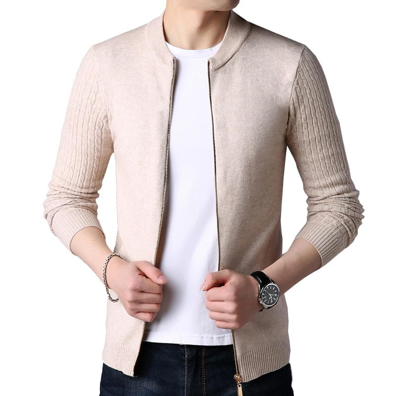 New Autumn Winter Knitted Cardigan Men Sweater Cardigan Sweater Men's Slim Sweater Coat Pure Color Jacket Cardigan