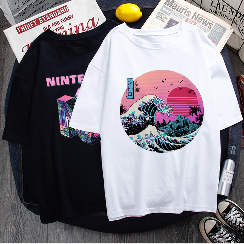 Vaporwave Aesthetic Funny Cartoon T Shirt Men Unisex Cool Streetwear T-shirt Japanese Anime Summer Tshirt Hip Hop Top Tees Male