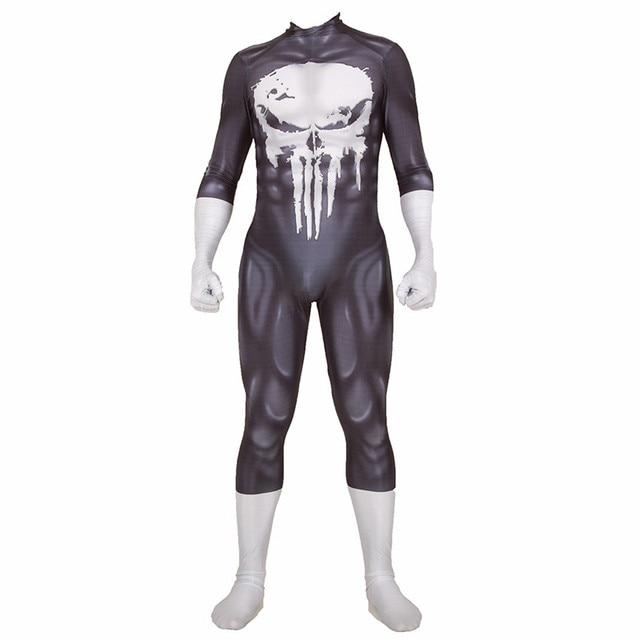 The Punisher Frank Castle Cosplay Costume Superhero Zentai Adults Kids Black Bodysuit One Piece Lycra Jumpsuits