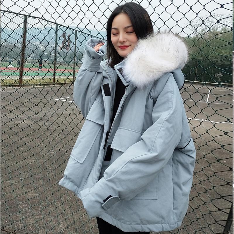 2019 Real Raccoon Fur Collar Women White Duck Down Jacket Plus Size Women Down Parkas Thicken Outerwear Hooded Winter Coat Women