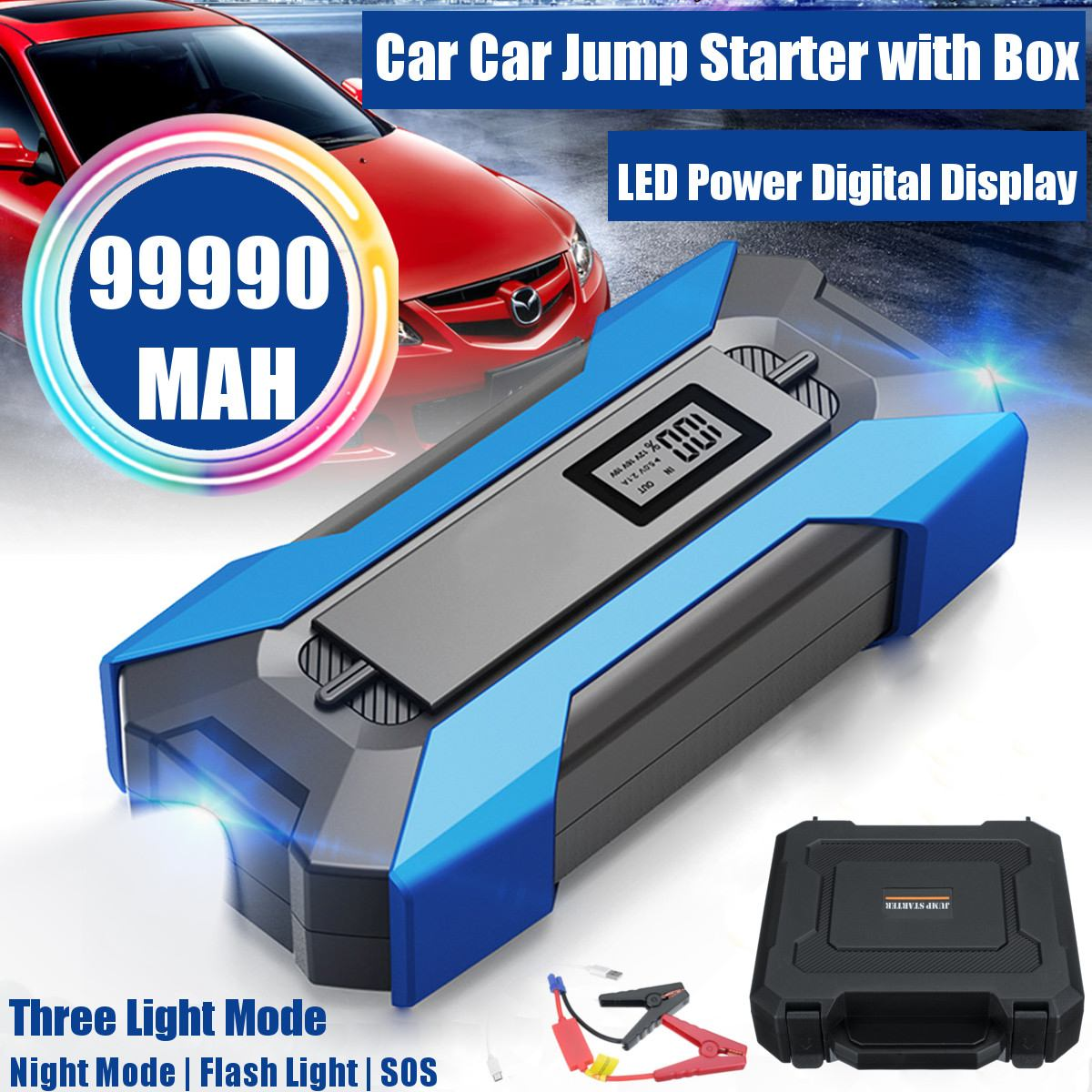 99990mAh 5 Ports Car Jump Starter Cars Battery Jumper 12V 3.0 Fast Charger 3 USB 2 Type-C Emergency Power Bank SOS LED Flashlig